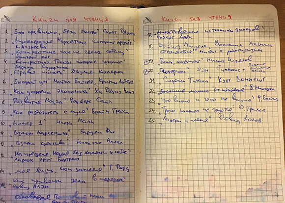 фото списка книг