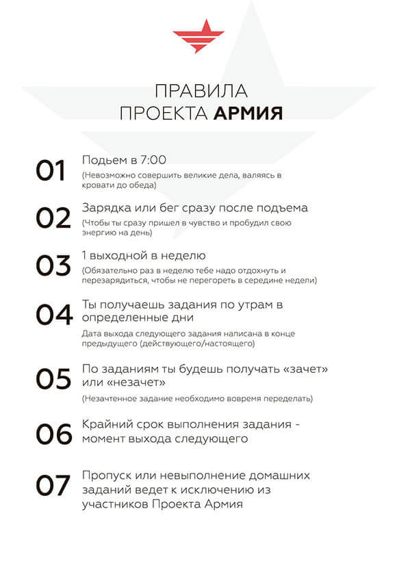 лист с правилами проекта